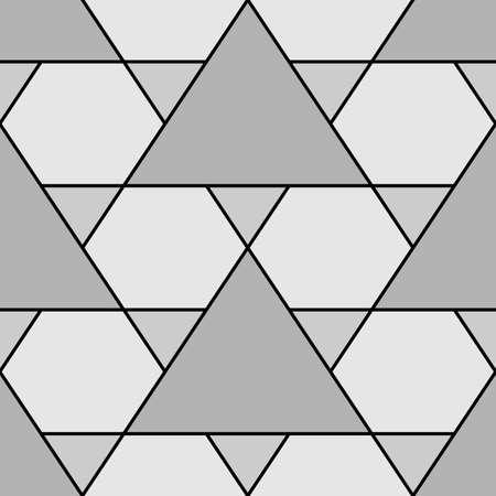 Mosaic. Triangles, hexagons ornament. Flooring background. Ethnic tiles motif. Geometric grate wallpaper. Parquet backdrop. Geometry digital paper, web design, textile print. Seamless abstract pattern