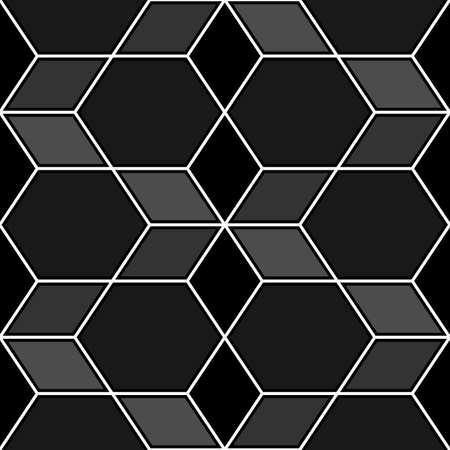 Rhombuses, hexagons, diamonds, lozenges. Mosaic. Flooring background. Ethnic tiles motif. Geometric wallpaper. Polygons backdrop. Digital paper, web design, textile print. Seamless abstract pattern. Vectores