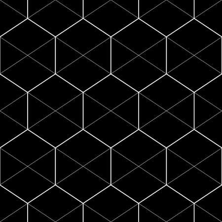 Seamless mosaic pattern. Hexagons, rhombuses, triangles ornament. Grid background. Ancient ethnic motif. Grate wallpaper. Parquet backdrop. Digital paper, web design, textile print. Honeycomb vector. Illusztráció