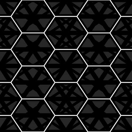 Seamless mosaic pattern. Hexagons, kites, triangles, polygons ornament. Grid background. Ancient ethnic motif. Grate wallpaper. Parquet backdrop. Digital paper design, textile print. Honeycomb vector.