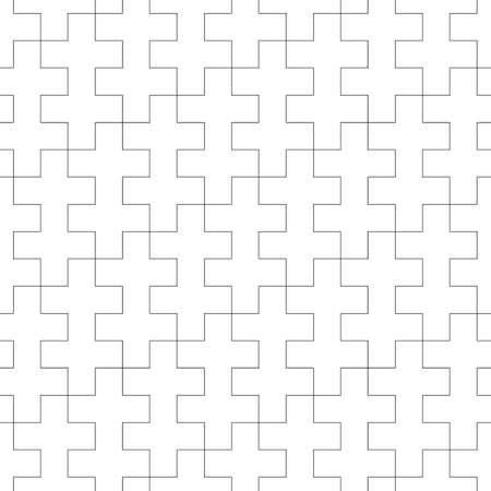 Seamless Sayagata pattern. Repeated interlocking manji background. Oriental crosses ornament. Traditional architecture wallpaper. Ancient ethnic mosaic motif. Digital paper, textile print. Vector art.