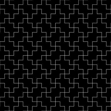 Seamless Sayagata pattern. Repeated interlocking manji background. Oriental symbols ornament. Traditional architecture wallpaper. Ancient ethnic mosaic motif. Digital paper, textile print. Vector art. 矢量图像
