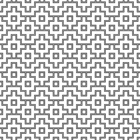 Seamless pattern with Inca crosses ornament. Ethnic embroidery background. Tribal wallpaper. Ethnical folk image. Tribe motif. Ancient mosaic. Digital paper for web design, textile print. Vector art. Vektoros illusztráció