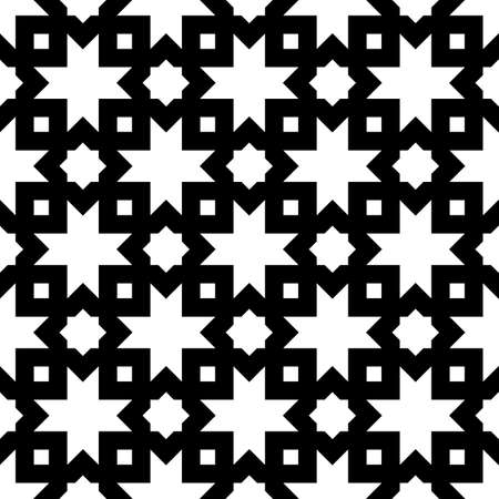 Seamless surface pattern design with Moroccan stars and crosses tiles ornament. Oriental traditional ornamentation with repeated geometric shapes. Ancient mosaic wallpaper. Grid motif. Digital paper.