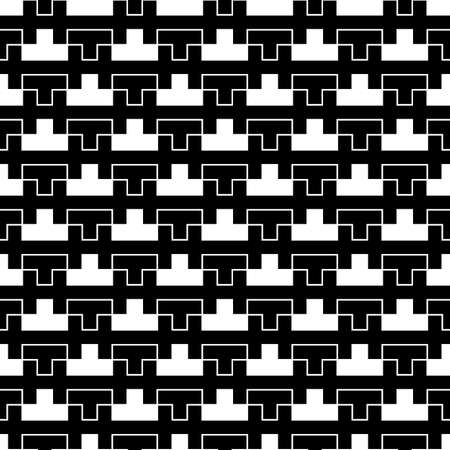 Repeated puzzle figures background. Seamless surface pattern design with mosaic ornament. Ethnic embroidery motif. Grid wallpaper. Digital paper for page fills, web designing, textile print. Vector. 免版税图像 - 157900283
