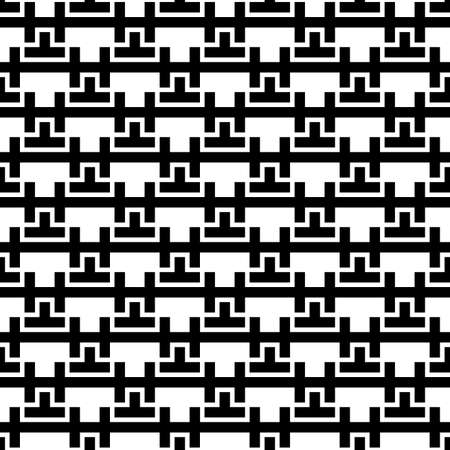 Repeated puzzle figures, lines background. Seamless surface pattern design with mosaic ornament. Ethnic embroidery motif. Grid wallpaper. Digital paper, page fill, web designing, textile print. Vector 免版税图像 - 157900293