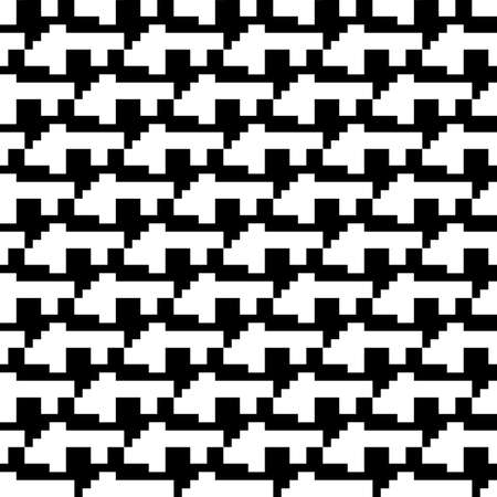 Repeated puzzle figures background. Seamless surface pattern design with mosaic ornament. Ethnic embroidery motif. Grid wallpaper. Digital paper for page fills, web designing, textile print. Vector. 免版税图像 - 157900313