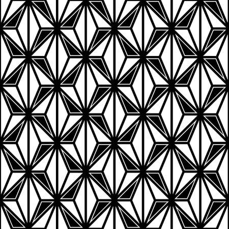 Seamless surface pattern design with asanoha ornament. Interlocking triangles background. Image with repeated triangular shapes. Geometric image. Ethnic japanese embroidery motif. Vector for print. 免版税图像 - 157900352