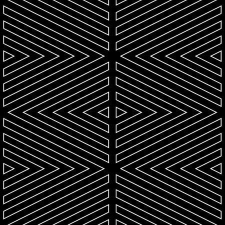 White broken lines contours on black background. Seamless surface pattern design with linear ornament. Curves wallpaper. Angle brackets motif. Digital paper with chevrons. Striped vector illustration.