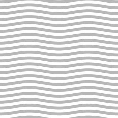 Gray wavy lines. Jagged stripes. Seamless surface pattern design with sine waves ornament. Repeated rounded curves wallpaper. Digital paper with repeated circular waveforms motif. Linear vector art.  イラスト・ベクター素材