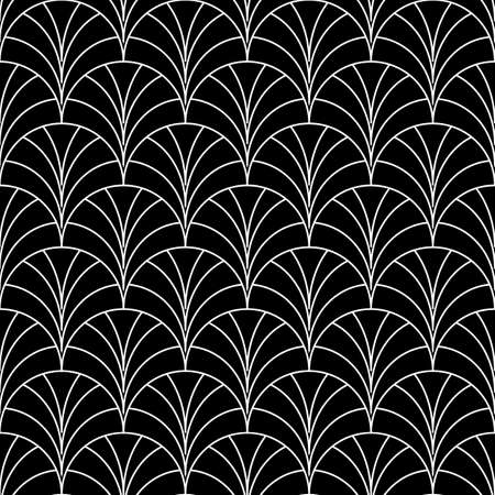 Fish scale wallpaper. Asian traditional ornament with repeated scallops. Repeated white curves on black background. Seamless surface pattern design with semicircles. Grid motif. Digital paper. Vector.
