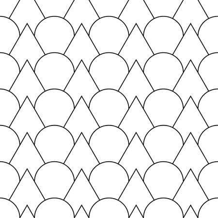 Fish scale wallpaper. Asian traditional ornament with repeated scallops. Repeated white triangular and circular shapes on black background. Seamless surface pattern design with curves and lines.