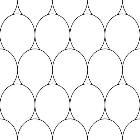 Fish scale wallpaper. Asian traditional ethnic ornament with repeated scallops. Repeated white figures on black background. Seamless surface pattern design with scales. Squama motif. Digital paper art
