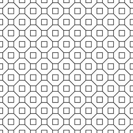 Repeated black figures and lines on white background. Geometric wallpaper. Seamless surface pattern design with regular octagons and squares. Tiles motif. Digital paper for textile print. Vector art.