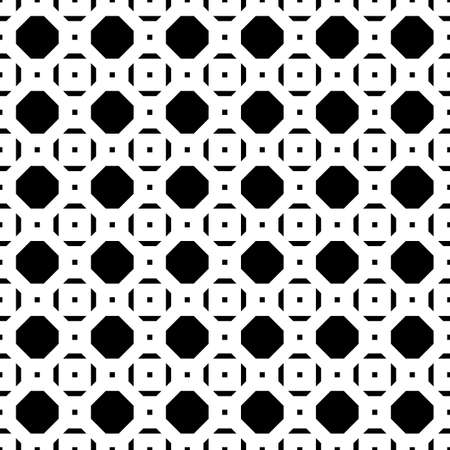 Repeated black figures on white background. Symmetric geometric wallpaper. Seamless surface pattern design with regular octagons and squares. Tiles motif. Digital paper for textile print. Vector art.