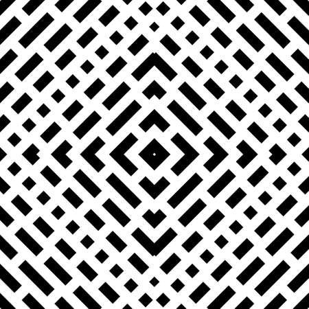 Repeated black figures on white background. Ethnic wallpaper. Seamless surface pattern design with symmetric polygons ornament. Geometric motif. Digital paper for textile print, web designing. Vector Vektoros illusztráció