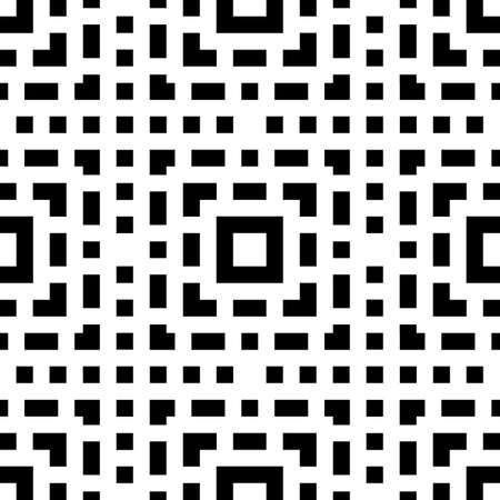 Repeated black figures on white background. Ethnic wallpaper. Seamless surface pattern design with symmetric polygons ornament. Geometric motif.