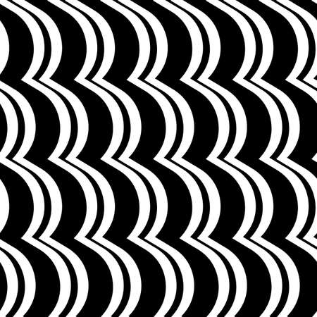 Wavy lines seamless pattern. Angled jagged stripes ornament. Linear waves motif. Curves print. Striped background. Tilted broken line shapes wallpaper.