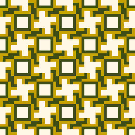 Crosses, squares, figures seamless pattern. Checks, cross shapes, forms ornate. Geometric image. Folk wallpaper. Tribal motif. Ethnic ornament. Textile print, geometry abstract. Geometrical vector.