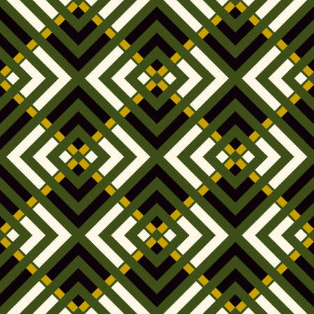 Ethnic seamless pattern. Folk wallpaper. Chevrons, curves, angle brackets, checks, squares, tiles, rhombuses, diamonds ornament. Ethnic ornate. Tribal motif. Ethnical mosaic. Vector, textile print.