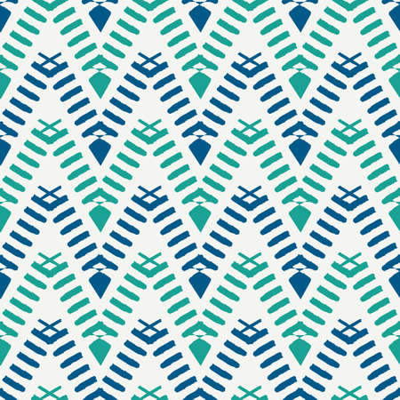 Ethnic seamless pattern. Freehand horizontal zigzag chevron stripes print. Boho chic design background. Indigenous, tribal style wallpaper. Brush strokes, handdrawn geometric ornament. Vector abstract