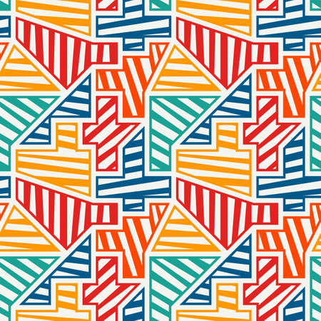 Bright modern seamless pattern. Geometric pop art style surface print. Repeated diagonal striped geo shapes motif. Vivid contemporary creative design texture. Vector graffiti artistic background