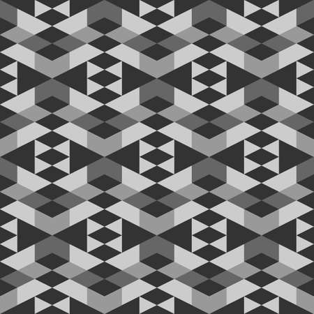 Seamless pattern. Rhombuses, triangles, trapeziums, chevrons ornament. Geometrical backdrop. Simple shapes wallpaper. Ethnic background. Polygons motif. Digital paper, textile print, abstract. Vector. 矢量图像