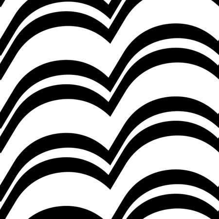 Wavy lines seamless pattern. Angled jagged stripes ornament. Linear waves motif. Curves print. Striped background. Tilted broken line shapes wallpaper. Slanted zigzag stripe figures. Vector artwork.