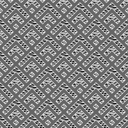 Seamless pattern. Folk wallpaper. Chevrons, checks ornament. Angle brackets, diamonds background. Curves, squares backdrop. Tribal motif. Ethnic mosaic. Digital paper, textile print, abstract. Vector.