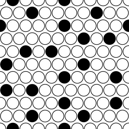 Circles pattern. Dots seamless ornament. Dot motif. Circular figures backdrop. Rounds background. Dotted wallpaper. Digital paper, web design, textile print, vector illustration, abstract image