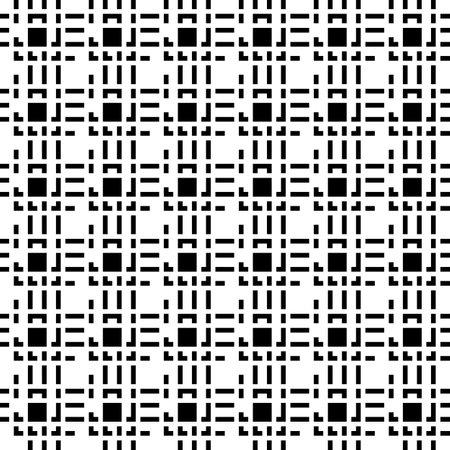 Seamless pattern. Squares, strokes, curves ornament. Geometric illustration. Tribal wallpaper. Ethnic motif. Folk backdrop. Modern background. Digital paper, textile print, web design. Vector art