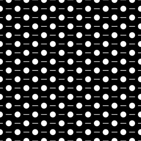 Circles, strokes seamless pattern. Dots, dashes print. Polka dot, lines ornament. Circular, linear figures wallpaper. Dotted, dashed background. Rounds, stripes backdrop. Abstract motif. Vector work