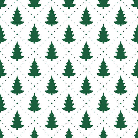 Seamless vector. Fir-tree background. Xmas illustration. New Year wallpaper. Christmas tree motif. Holidays ornament. Winter pine trees image. Pines pattern. Floral backdrop. Textile print design.