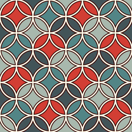 Overlapping circles abstract background. Petals motif. Seamless pattern with classic sacred geometric ornament.