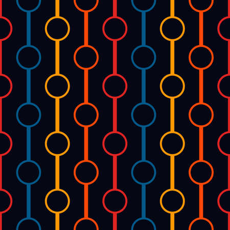 Polka dot ornament. Vertical lines and circles seamless pattern. Strings of beads motif. Simple geometric shape background. Geo surface print. Minimalist design abstract wallpaper. Vector illustration Vector Illustratie