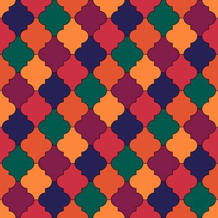 Seamless pattern. Ogee tiles ornament. Oriental traditional ornamentation. Repeated lantern shapes. Mosaic wallpaper. Tiles motif. Geometric digital paper, ethnic textile print, web design. Vector