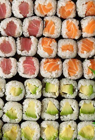 Maki sushi top view Stock Photo - 445680