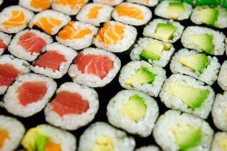 Assortment of maki sushi selective focus photo