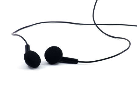 earphones, isolated on a white background.  Stock Photo