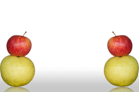 apple and Chinese pear white background