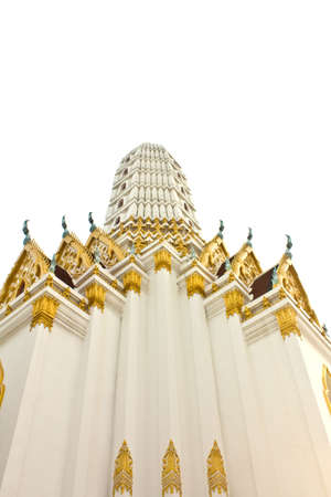 White Pagoda in temple Thailand.  Stock Photo