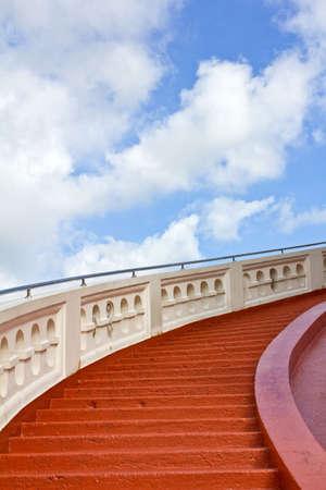 stairway leading to the golden mountain Stock Photo