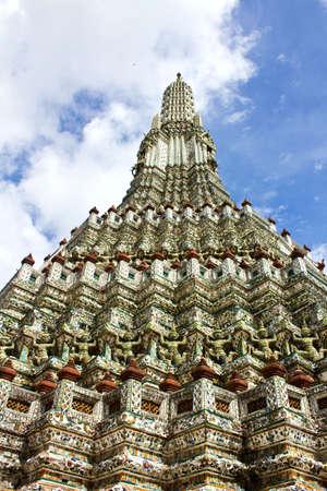 Detail of the Pagoda Wat Arun, Bangkok, Thailand  Stock Photo