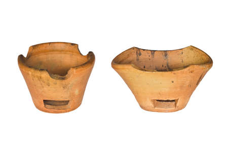 Old pottery for cooking isolated