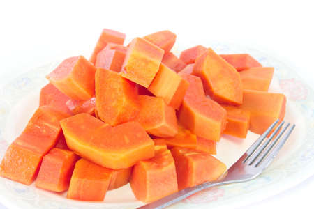 Papaya dessert on plate, Fruits for Healthy Eating.