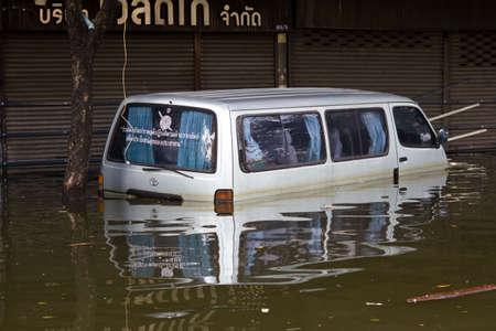 BANGKOK, THAILAND - OCTOBER 30 : Car swamping in flood water on October 30,2011  Bangkok, Thailand.