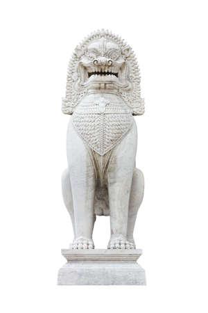 antique guardian lion sculpture temple, thailand Stock Photo