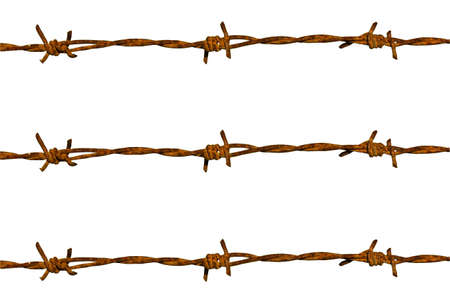 Barbed wire on white background photo