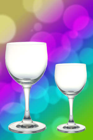 Two glasses with lights in the background
