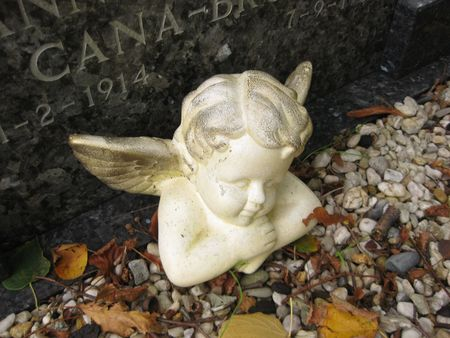 guardian angel mourning on a grave  photo
